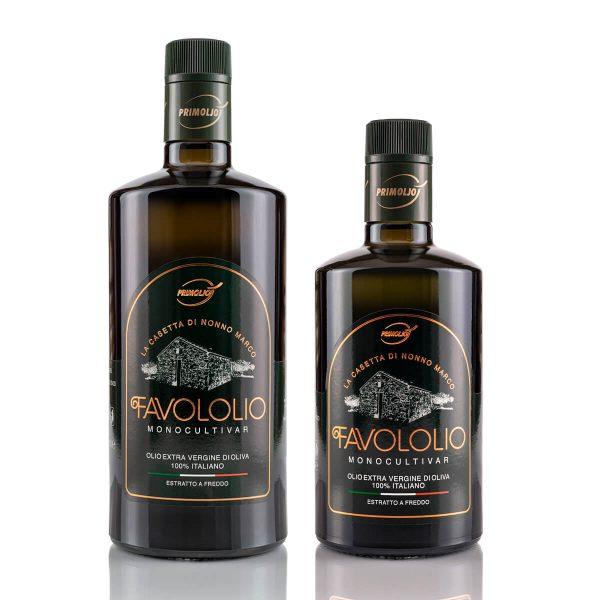 favololio primioljo olio fruttato bottiglia da 0.5 e 0.75